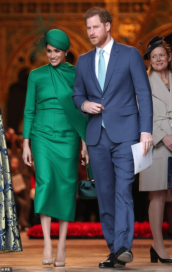 For her final event as a working member of the royal family, Meghan donned an emerald bespoke Emilia Wickstead gown