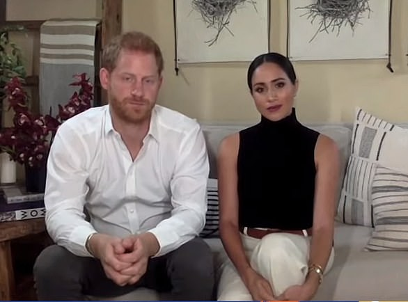 Meghan Markle and Prince Harry say they feel 'fortunate' to have watched son Archie's 'first steps, first run and first fall' during Covid-19 crisis as they join Malala Yousafzai for virtual chat