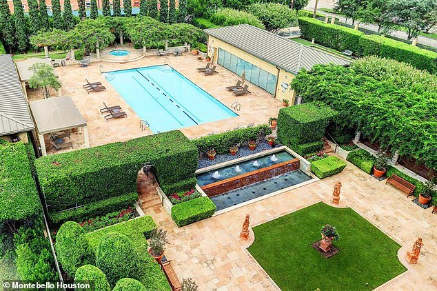 However, a spokesperson for Houston Health Department said he isn't aware of any arrangement with the high rise building. Pictured: The outdoor pool available to all residents