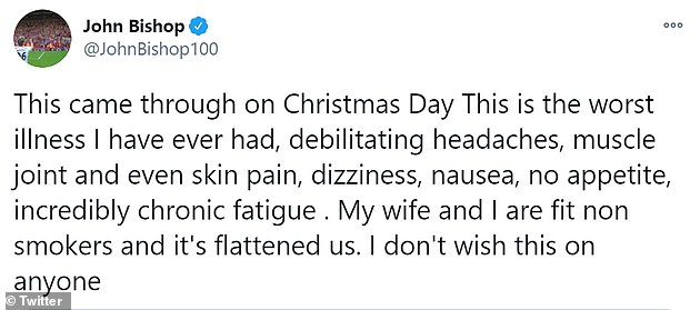 Shocking:Alongside the screenshot, he penned: 'This came through on Christmas Day This is the worst illness I have ever had, debilitating headaches, muscle joint and even skin pain, dizziness, nausea, no appetite, incredibly chronic fatigue'