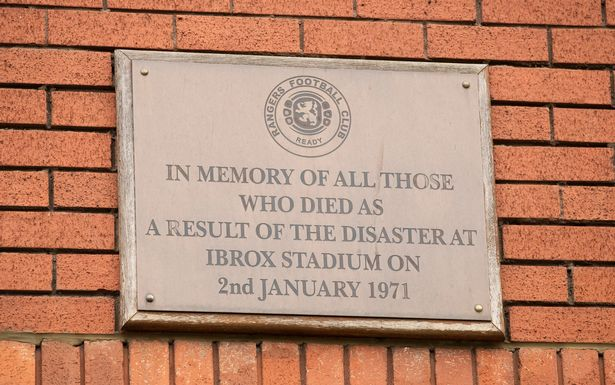 A plaque at Ibrox paying respects to those who lost their life in the disaster