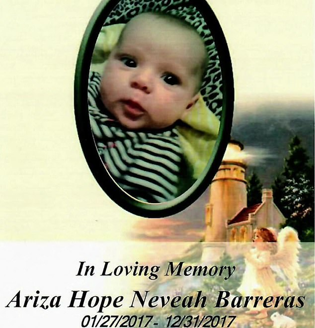 According to KRQE News 13 , medical examiners determined that Barreras died from pneumonia before her first birthday