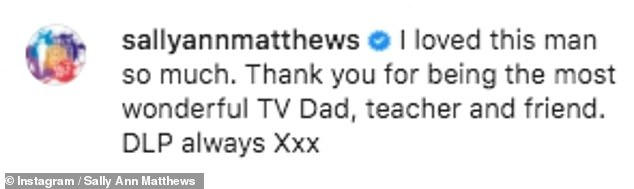 'I loved this man so much': Sally Ann Matthewswho played Eden's on-screen daughter Jenny, shared the same black and white image and wrote: ' Thank you for being the most wonderful TV dad, teacher and friend'