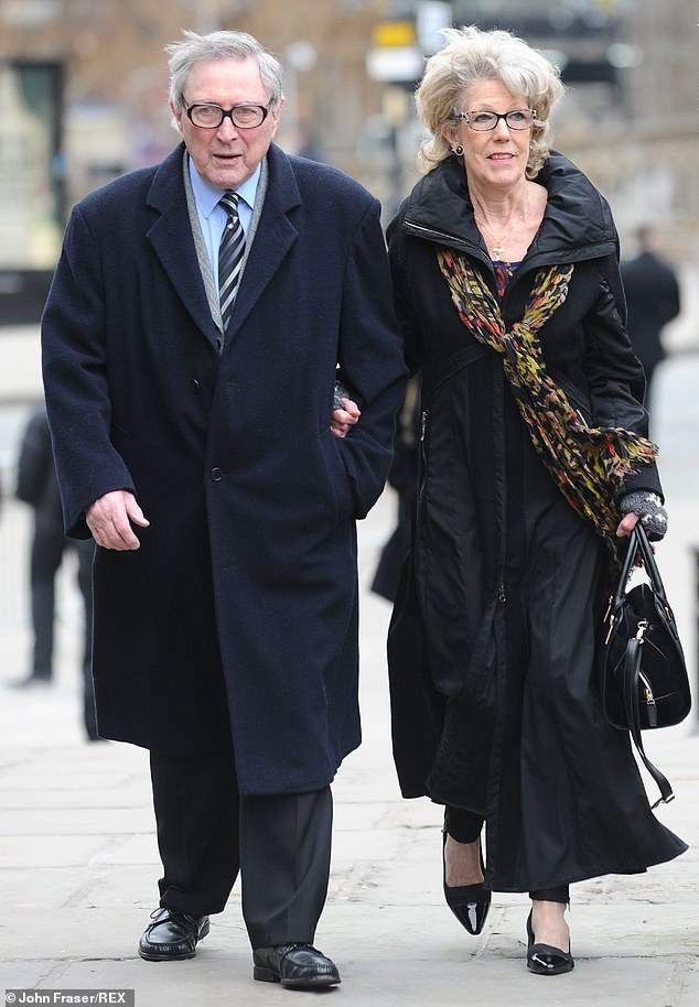 Sad news: He leaves behind his wife Sue Nicholls, 77, who plays Audrey Roberts in the ITV soap (pictured together in 2016)