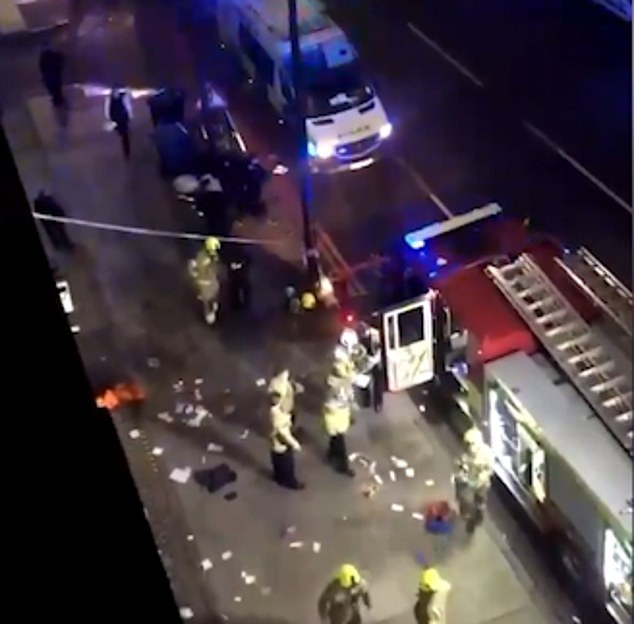 Meanwhile, the police, the Border forces, airport staff and medics tasked with carrying out Covid tests on travellers are bearing the brunt of this blatant manipulation of the rules, as they are also required to break up stabbings (stabbing on Edgware Road on New Year's Eve, pictured), gang meets, midnight raves and drunken parties, forced to move on and test people who could be highly infectious