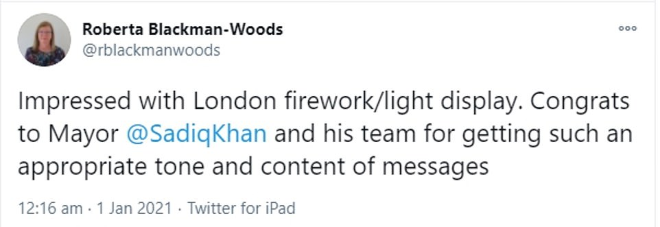 On the other end of the spectrum, former-Labour MP Roberta Blackman-Woods heaped praise on the left-wing mayor, writing: 'Impressed with London firework/light display. Congrats to Mayor Sadiq Khan and his team for getting such an appropriate tone and content of messages'
