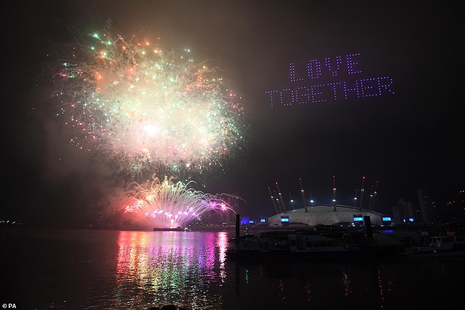 The drones also formed the words 'love together' in the sky over London on New Year's Eve. The show was broadcast on BBC One
