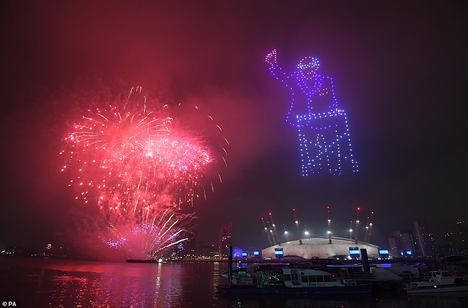 London's New Year's Eve display also featured a depiction of Captain Sir Tom Moore in lights as fireworks erupted