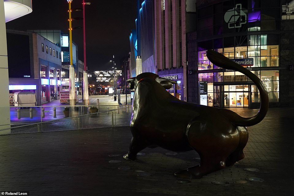 BIRMINGHAM: The street's of Birmingham were lit up by lights on New Year's Eve as revellers remained at home amid the Covid-19 pandemic