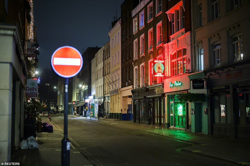 LONDON: Soho's normally-bustling streets were nearly empty this evening as London's bars, pubs and restaurants remain shut