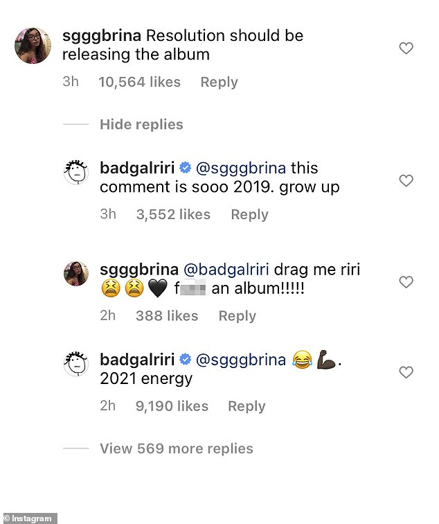 Here is an idea:Another suggested to Rihanna that her New Year's resolution should be 'releasing an album'