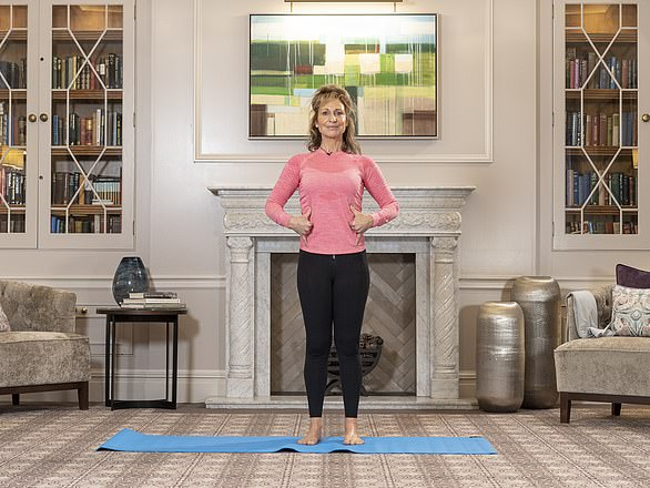 On all fours with your spine straight, extend one leg out behind you, resting toes on the floor (pictured