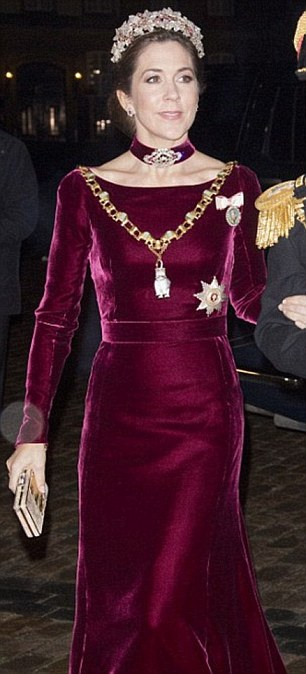 Bringing in the New Year: Mary first wore her red velvet gown to a New Year's banquet in 2014