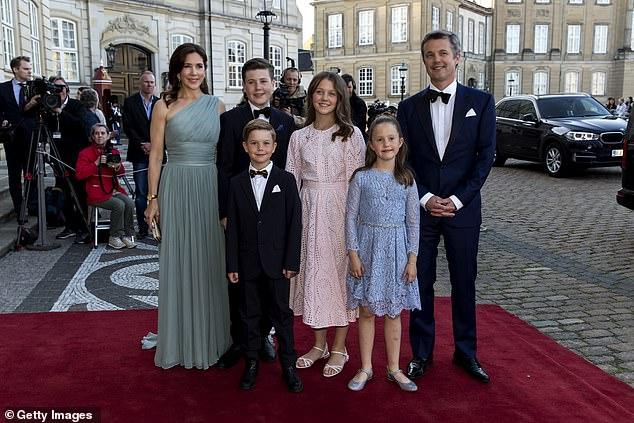 Princess Mary is seen with her four children and husband Frederik. Frederik is the next in line to the Danish throne