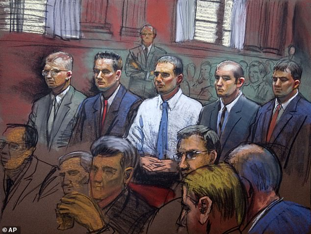 Blackwater Worldwide security guards Paul Slough, Evan Liberty, Donald Ball, Nick Slatten and Dustin Heard appear in federal court with their attorneys in 2008