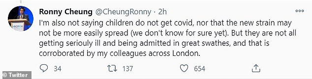 He later claimed he was not accusing the nurse of lying, but that it was 'very important it is not misconstrued for worried parents', adding children were getting coronavirus, they just weren't 'being admitted in great swathes'