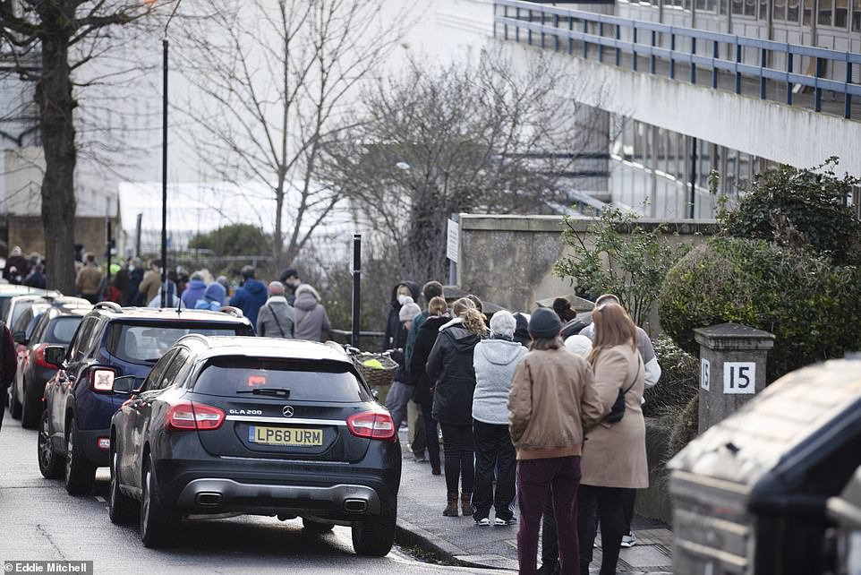 Second doses of either vaccine will now take place within 12 weeks rather than the 21 days that was initially planned with the Pfizer/BioNTech jab. Pictured:People queue to receive a Covid-19 vaccine at Sussex House in Brighton