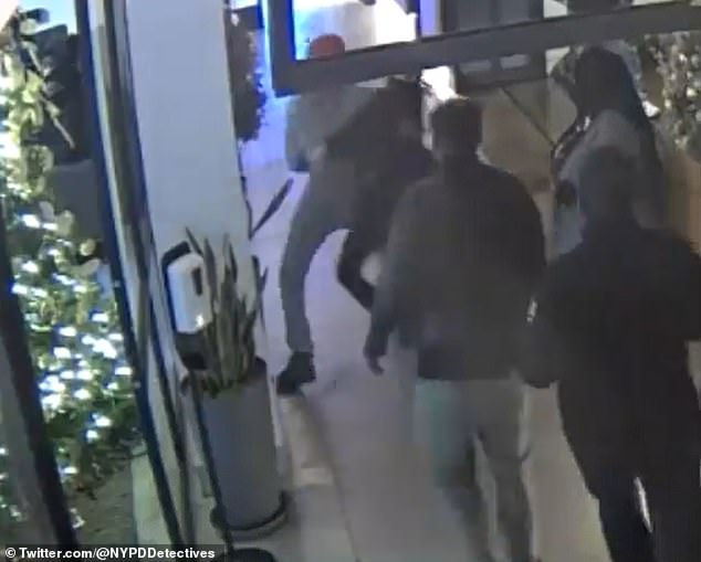 The NYPD has released new surveillance footage of Ponsetto, dubbed 'SoHo Karen', tackling the 14-year-old son of a black musician to the ground in a New York City hotel while accusing him of stealing her phone