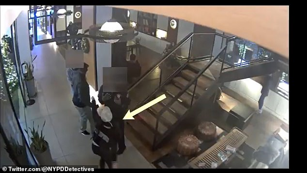 The new footage casts new light on Saturday's events in the lobby of the Arlo Hotel in Manhattan. It shows four people - identified as Ponsetto, Keyon, Keyon Jr. and another individual standing at the bottom of the stairs in the lobby