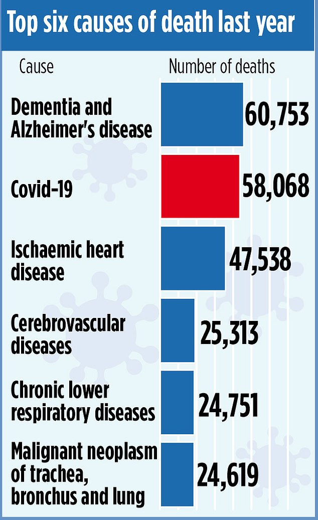 A graphic demonstrates how coronavirus compares to other major causes of death last year