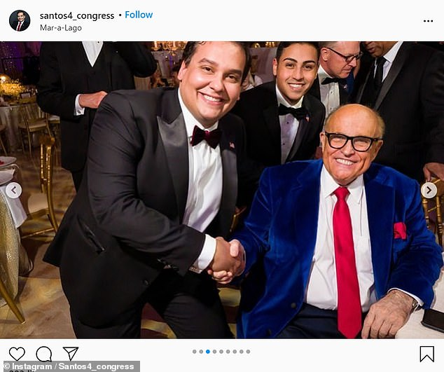 Santos, of Queens, New York, had shared multiple photos from the party where he was seen rubbing shoulders with Trump allies including Rudy Giuliani