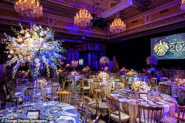 Inside the huge function room before the revelers arrived for the glittering Palm Beach bash