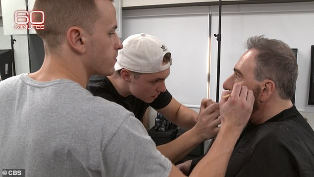 A team of theatre make up specialists worked to alter Pozner's features for the interview
