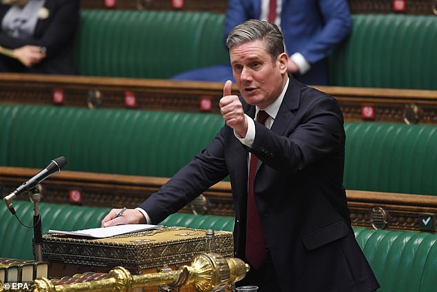 The results suggest Sir Keir Starmer (pictured last week) would win 282 seats, an increase of 82, and be in a position to form an alliance with the SNP to govern
