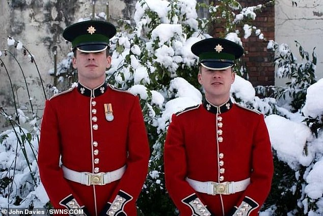 Both men were serving with the Irish Guards (pictured), and John is undertaking the challenge to raise money forthe armed force's charity Veterans' Lifeline
