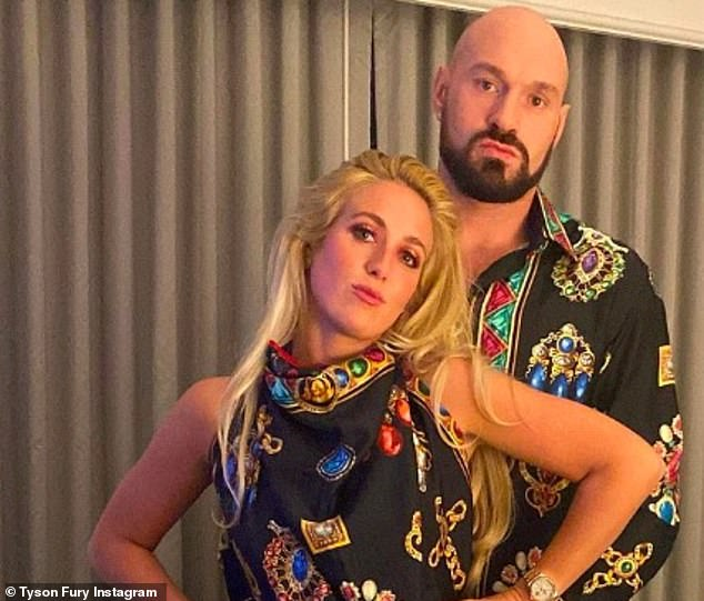 Tyson posed with his wife in matching Versace last week, but it's not clear where the picture was taken, after sharing footage from Miami this weekend