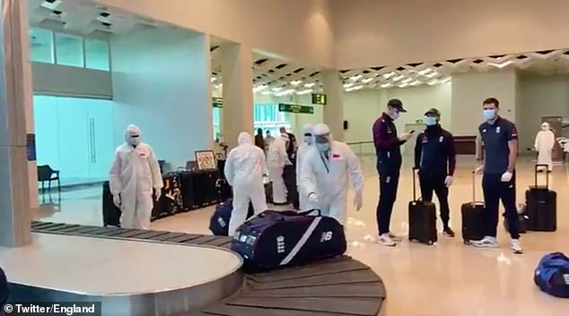 A video posted on the England Twitter account showed the strict Covid security in Sri Lanka