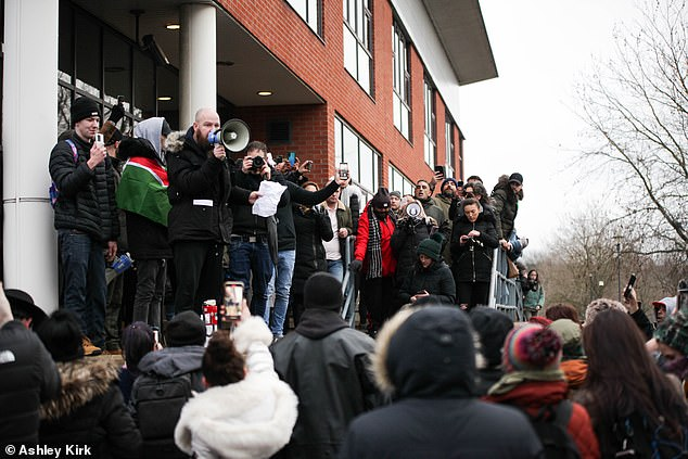 The crowd blocked the outside of the BBC building in Nottingham today to tell people Covid-19 is a 'hoax'