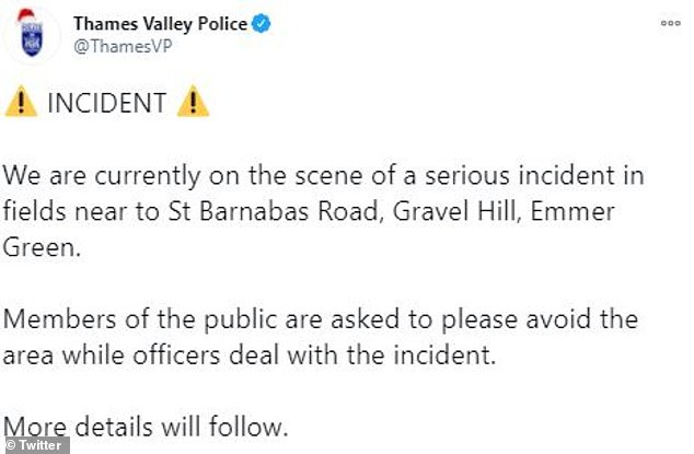 Thames Valley Police (their earlier tweet, pictured) have not yet revealed what happened in the incident earlier this evening