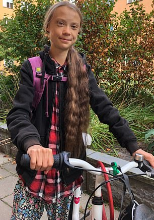 Miss Thunberg (pictured) has said she 'doesn't care' about the jet-setting exploits of celebrities who preach about the environment in an interview ahead of her 18th birthday