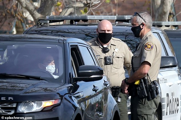 Two police cruisers attended the traffic stop by which point Nicole had put on her face mask