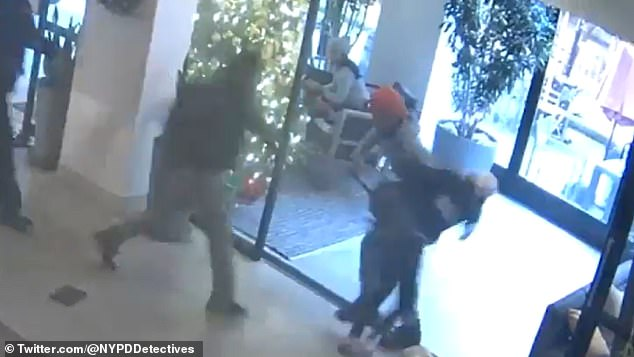 The video, shared on social media Wednesday night by NYPD Chief of Detectives Rodney Harrison, shows Ponsetto suddenly run at Keyon Harrold Jr. and grab him by the waist in the Arlo Hotel on Saturday
