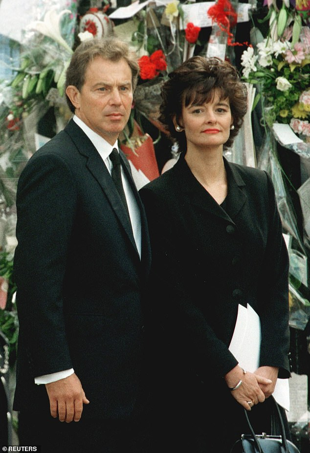 Within months of Tony Blair's arrival in No 10, Diana's death in Paris tested the traditional etiquette that exists between premier and monarch like no other before or since. Pictured: Prime Minister Tony Blair and his wife, Cherie at the funeral of Princess Diana