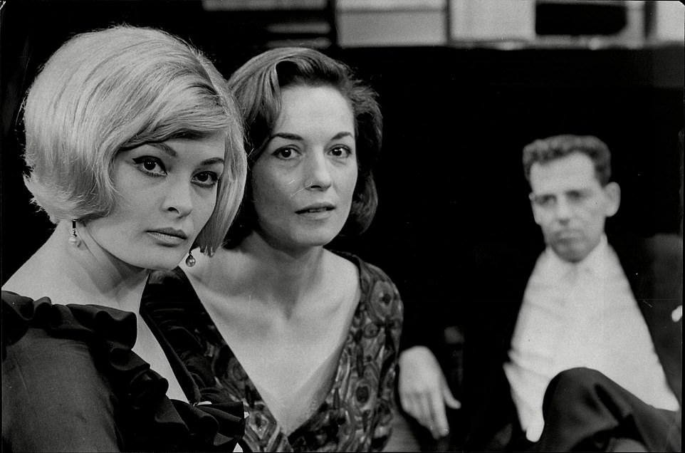 Jan Waters, Barbara Shelley and Jack Hedley pose in this black and white still from her long acting career in film and TV