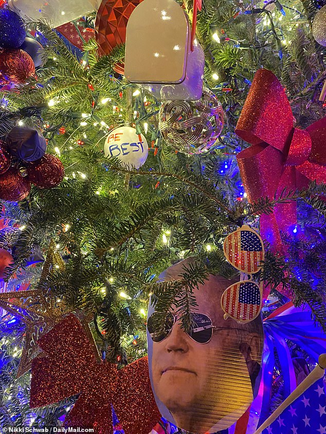 Ornaments included Be Best bulbs, cut-outs of Biden and pairs of his favorite aviator-style sunglasses