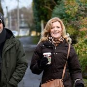 Coronation Street's Jane Danson and Robert Beck grin during romantic stroll