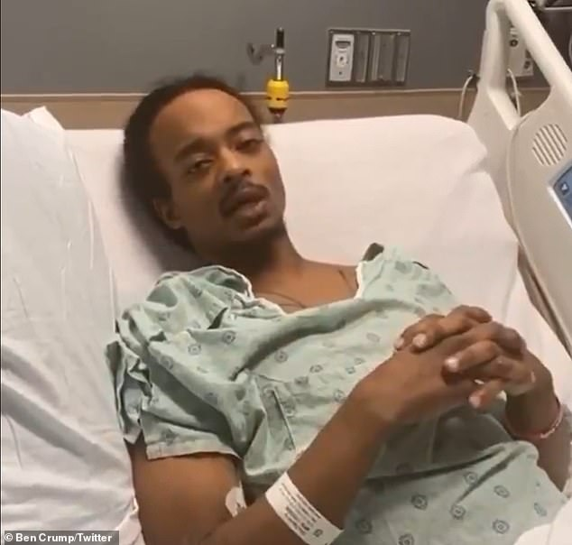 Jacob Blake was discharged from hospital in October 2020 where he had been recovering for more than a month after being shot seven times in the back by police during a domestic disturbance call