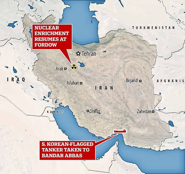 The tanker was seized near the sensitive Strait of Hormuz (as shown on the map), as Iran announced that it was resuming uranium enrichment to 20 per cent