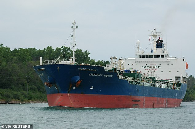Iran claimed that the Hankuk Chemi (pictured) was seizedfor 'repeated infringement of maritime environmental laws'