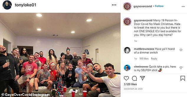 The account shared several images from Christmas parties that showed at least a dozen people packing inside their homes for the holiday. Some were seen enjoying meals while others were having a few drinks