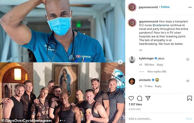The account also appeared to call out healthcare workers who were seen partying last weekend
