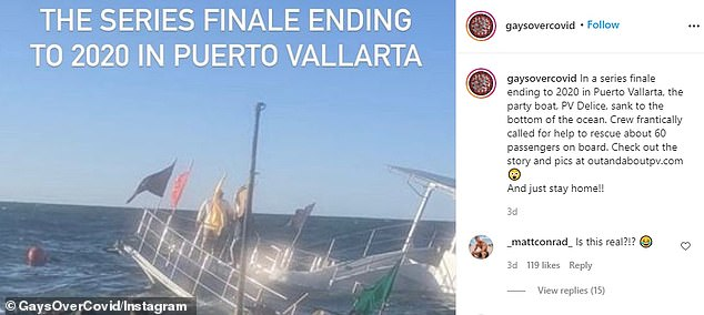 The Instagram also shared video from a party boat that sank in the ocean waters of Puerto Vallarta, Mexico, on New Year's Eve