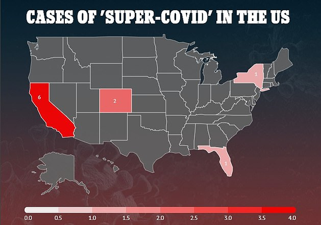 'Super-COVID' is spreading across the US. It was first reported in Colorado last week. It was then confirmed in California, which now has six cases, and Florida before being found in New York (all depicted)
