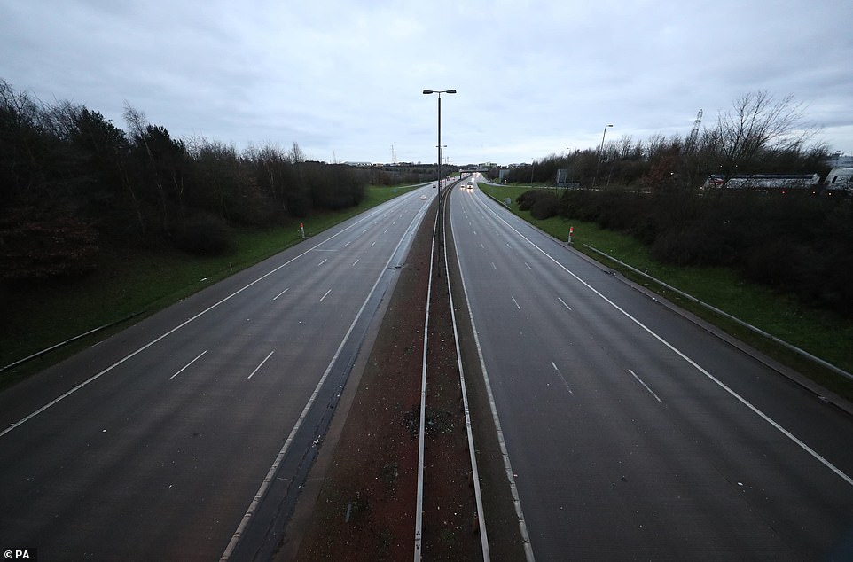Ghost highway: An almost-empty M1 near Leeds at 8.15am earlier today as lockdown begins