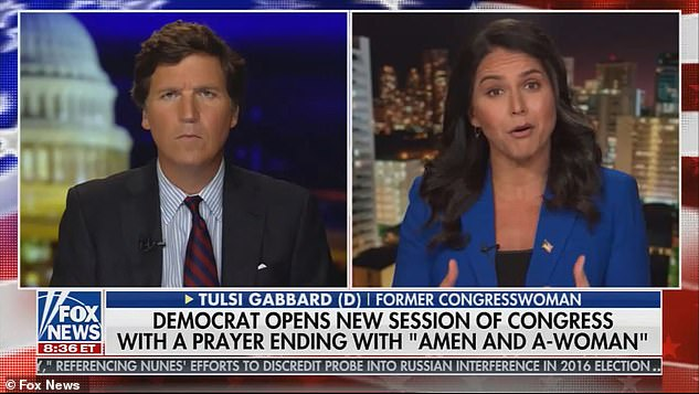 Former Democratic Rep Tulsi Gabbard voiced her outrage over the changes in an interview with Tucker Carlson on Monday night (pictured), saying that the rules essentially ignore the very existence of women