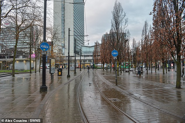 Empty streets in Manchester on the first day of new Covid lockdown as people stay at home